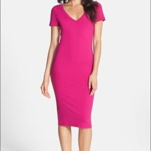 Stretchy Pink V-Neck Dress